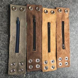 OOAK Jewelry - Leather ☮️❤️ SECRET POCKET Wrist Snap Bracelets